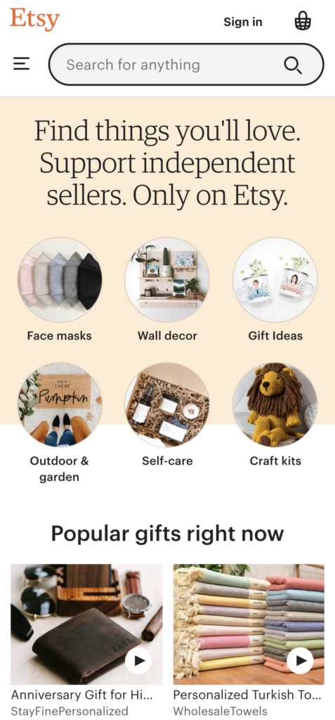 Etsy's well-structured e-commerce design